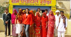 Chhavi Rajawat with villagers