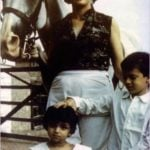 David Headley as a child, with his mother and younger sister