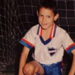 Edinson Cavani in his childhood playing football