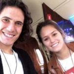 Edinson Cavani with his girlfriend Jocelyn Burgardt