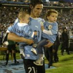 Edinson Cavani with his two sons
