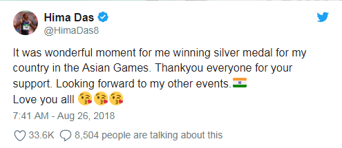 Hima Das tweet after winning Silver Medal