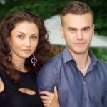 Igor Akinfeev with his wife Ekaterina Garun