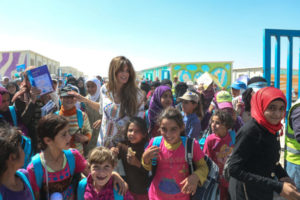 Jemima Goldsmith working as a UNICEF Ambassador