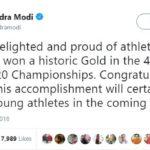 Narendra Modi tweeted Hima Das