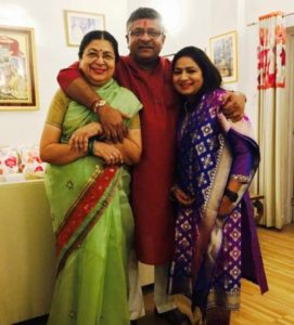 Rajeev Shukla's wife with his brother Ravi Shankar Prasad