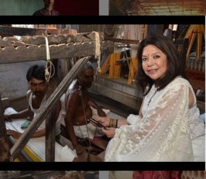 Ritu Kumar with a weaver in Banaras