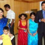 Shankar with his wife and children