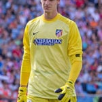 Thibaut Courtois playing for Atletico Madrid