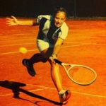 Young Angelique Kerber playing tennis