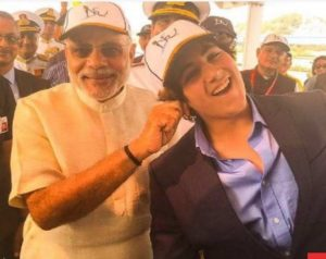 Aarav sharing a light moment with the Prime Minister of India Narender Modi