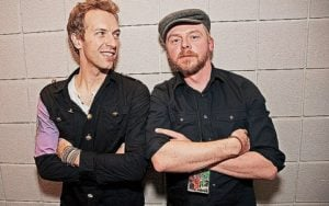 Chris Martin with Simon Pegg