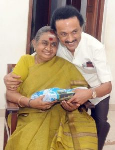 Dayalu Ammal With Her Son M. K. Stalin