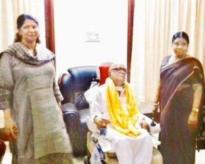 Rajathi Ammal With Her Husband M. Karunanidhi And Kanimozhi