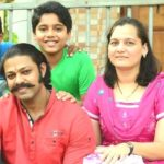Devdatta Nage with his wife Kanchan Nage and son Nihar Nage