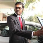 Dhanush out of his car