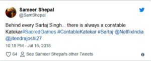 A Fan's Tweet About Katekar's and Sartaj's Relationship