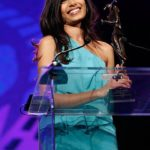 Freida Pinto with her Breakthrough Performance Award at the Palm Springs International Film Festival