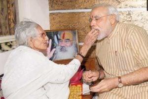 Heeraben Modi with her son Narendra Modi