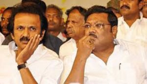M. K. Alagiri with his brother M. K. Stalin