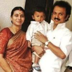 M. K. Stalin With His Son (Extreme Right, Daughter (Extreme Left), Wife, and Grandson (in his lap)