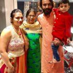 Naitik Nagda with his mother, wife Ishita Nagda, and son Hiyaan Nagda