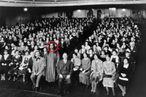 Paramahansa Yogananda at the center of Audience