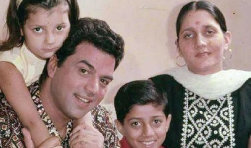 Parkash Kaur with Dharmendra and children