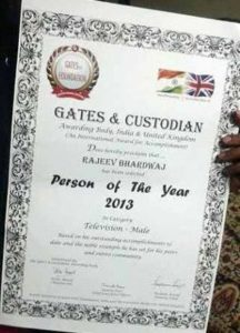 Rajeev Bhardwaj- Certificate of Honour