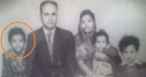 A childhood photo of Rajiv dixit (in circle) with his family