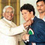 Sachin Tendulkar With Rajiv Gandhi Khel Ratna