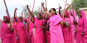 Sampat Pal's Gulaabi Gang in Pink Sarees and with Pink Sticks