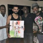 Sons of Viv Richards at left and right with his father and Virat Kohli
