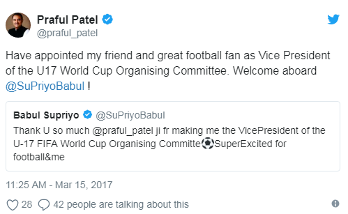 Supriyo's appointment as Vice President of  FIFA under-17 World Cup Organising Committee 2017
