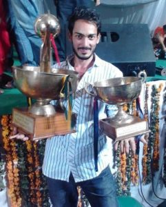 Amrit Amby with his trophies