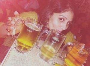 Ankita Mayank Sharma Drinking Beer