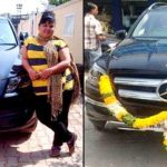 Bharti Singh poses with her Audi Q5 and Mercedes Benz cars