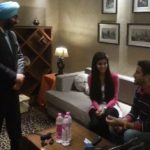 Jasmin Bajwa with her father and Gurdas Maan