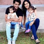 Karanvir Bohra with his wife Teejay Sidhu and twin daughters