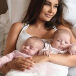 Lisa Ray with her twin daughters
