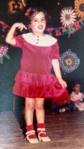 Meher Mistry while performing for the first time in her school