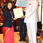 Mirabai Chanu receiving Rajiv Gandhi Khel Ratna Award