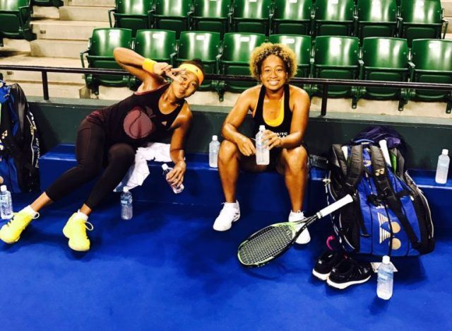 Naomi Osaka with her sister during a practice session
