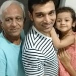 Pratik Gandhi with his father and daughter