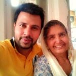 Raj Singh Jhinger with his mother