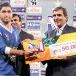 Usman Khan receiving Man of the Match Award in Faysal Bank T20 Cup