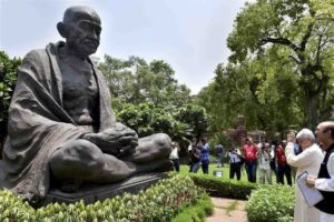 Mahatma Gandhi statue outside Parliament House, India