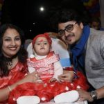 Mohit Sinha with his wife and daughter
