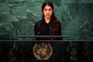 Nadia Murad addressing United Nations