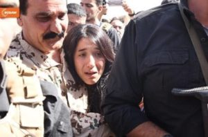 Nadia Murad with her relatives on her way back to home in 2017